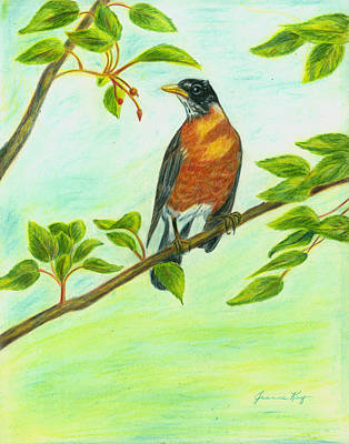 Art Print featuring the painting Robin In Spring by Jeanne Kay Juhos