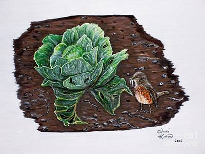 Painting - Robin In The Gardin by Judy Kirouac
