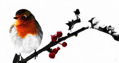 Decorative Painting - Robin In Winter  by Katrina Britt