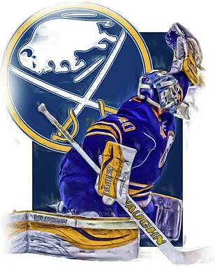 Mixed Media - Robin Lehner Buffalo Sabres Oil Art by Joe Hamilton