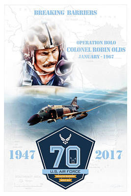 Comand Digital Art - Robin Olds Breaking Barriers by Peter Chilelli