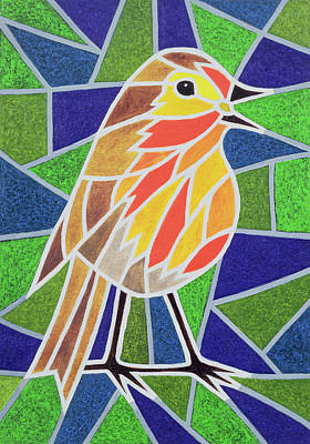 Red Blue And Green Birds Painting - Robin On Stained Glass by Pat Scott
