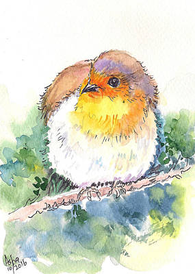 Painting - Robin On The Branch by Asha Sudhaker Shenoy