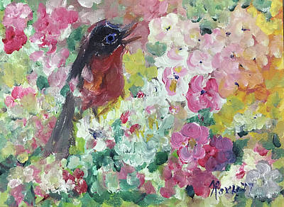 Animals Painting - Robin Singing by Roxy Rich