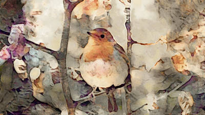 Mixed Media - Robin Song Of Spring by Susan Maxwell Schmidt