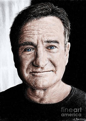Drawing - Robin Williams Colour Edit by Andrew Read