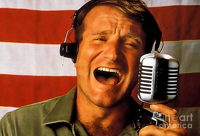 Robin Mixed Media - Robin Williams Good Morning Vietnam  by Marvin Blaine