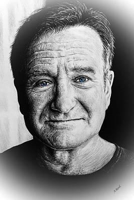 Drawing - Robin Williams Reflections by Andrew Read
