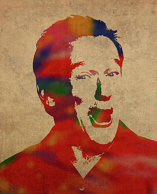 Robin Mixed Media - Robin Williams Watercolor Portrait by Design Turnpike
