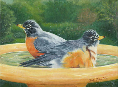 Alabaster Painting - Robins Bathing by Marie-Claire Dole