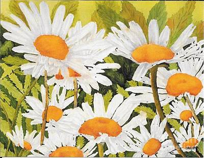 Painting - Robin's Daisies  by Roseann Meserve