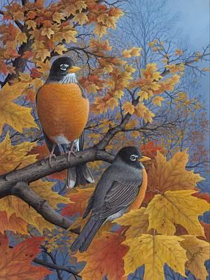Wavra Wall Art - Painting - Robins by Robert Wavra