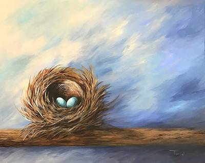 Painting - Robin's Two Eggs by Torrie Smiley