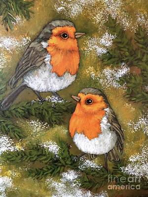 Painting - Robins, Winter by Inese Poga