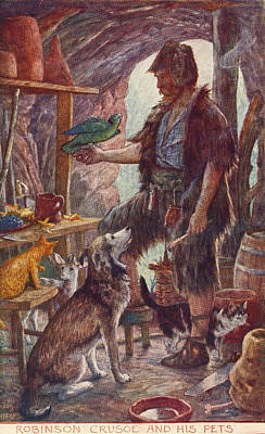 Robinson Drawing - Robinson Crusoe And His Pets. From by Vintage Design Pics