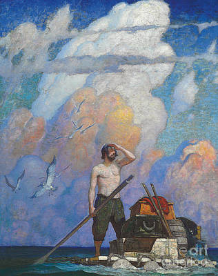 Flying Seagull Painting - Robinson Crusoe by Newell Convers Wyeth