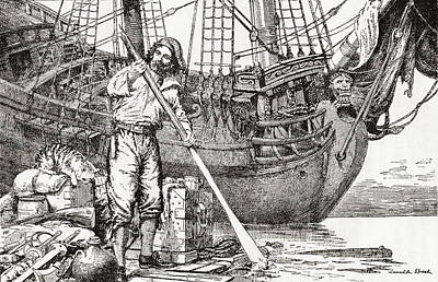 Robinson Drawing - Robinson Crusoe Rowing To Safety by Vintage Design Pics