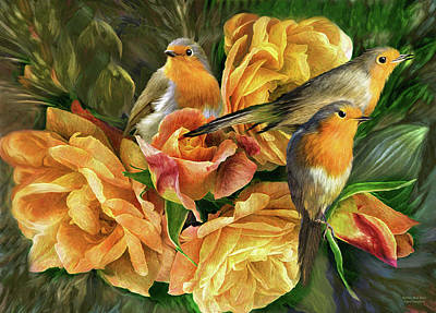 Mixed Media - Robins And Roses by Carol Cavalaris