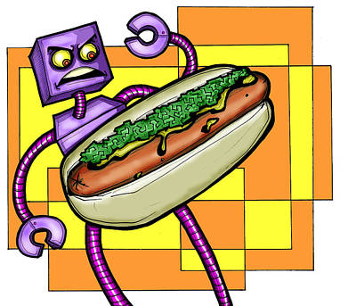 Hot Dogs Digital Art - Robo V. Hotdog by Christopher Capozzi