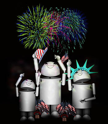 Id4 Mixed Media - Robo-x9 And Family Celebrate Freedom by Gravityx9  Designs