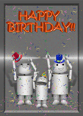 Robotics Mixed Media - Robo-x9 Birthday Wishes by Gravityx9 Designs