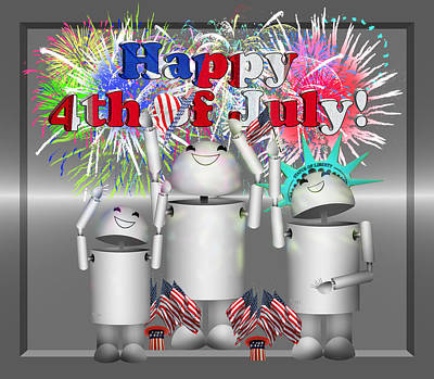 Fireworks Mixed Media - Robo-x9 Celebrates Freedom by Gravityx9  Designs