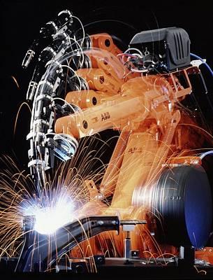 Robot Arm Spot-welding A Car Suspension Unit Art Print by David Parker