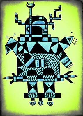 Robot Blue Art Print by Jarmila Kostliva