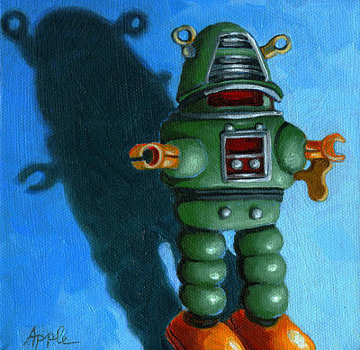 Toy Painting - Robot Dream - Realism Still Life Painting by Linda Apple