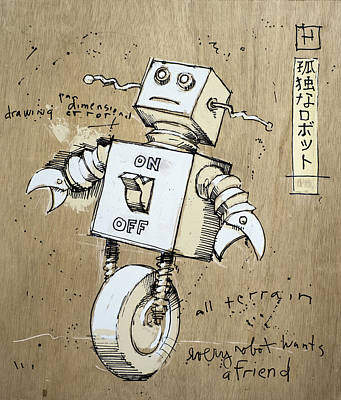 Robot Mixed Media - Robot by H James Hoff