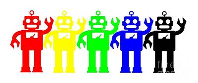 Digital Art - Robot Lives Matter Rainbow Tee by Edward Fielding