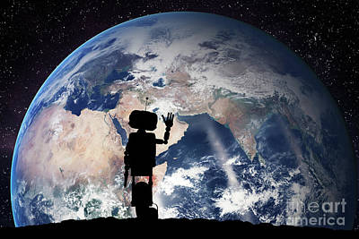 Planet Photograph - Robot Looking On The Planet Earth From Space. Technology Concept, Artificial Intelligence by Michal Bednarek