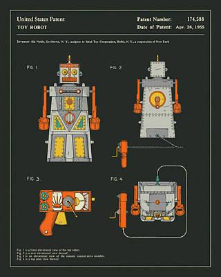Robot Digital Art - Robot Patent 1955 by Jazzberry Blue
