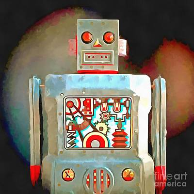 Photograph - Robot Pop Art R-1 by Edward Fielding