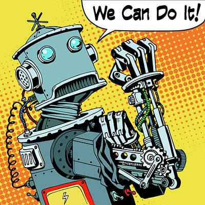 Hip Drawing - Robot We Can Do It Protest Future Power Machine by Valeriy Kachaev