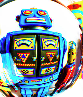 Robots In Crystal Ball Art Print