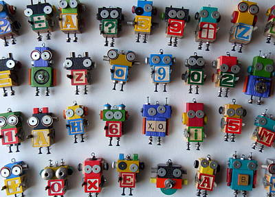 Mixed Media - Robots by Jen Hardwick
