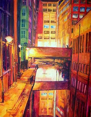 Rochdale Canal With Lock At Night Art Print