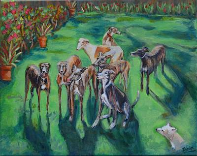 Rescued Greyhound Painting - Rochelle's Pack by Diane Hagg
