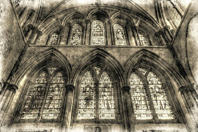 Photograph - Rochester Cathedral Stained Glass Windows Vintage by David Pyatt