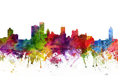 Rochester New York Painting - Rochester Cityscape 06 by Aged Pixel