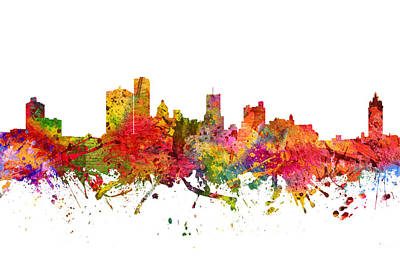 Rochester New York Painting - Rochester Cityscape 08 by Aged Pixel