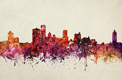 Rochester New York Painting - Rochester Cityscape 09 by Aged Pixel