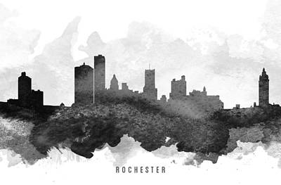 Towns Digital Art - Rochester Cityscape 11 by Aged Pixel