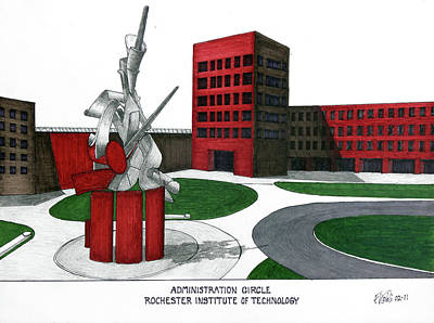 Drawing - Rochester Institute Of Technology by Frederic Kohli