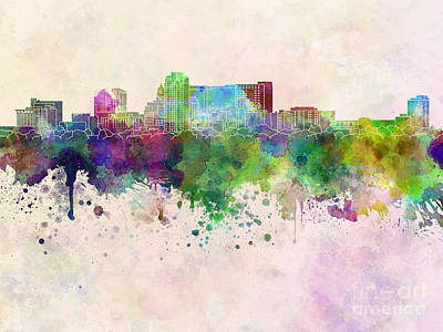 Rochester Mn Skyline In Watercolor Background Art Print by Pablo Romero