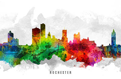Rochester Painting - Rochester New York Cityscape 12 by Aged Pixel