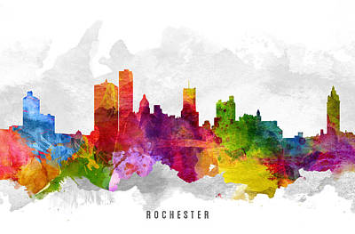 Rochester New York Painting - Rochester New York Cityscape 13 by Aged Pixel