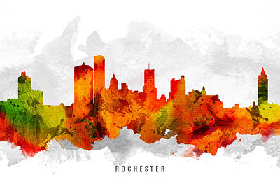 Rochester New York Painting - Rochester New York Cityscape 15 by Aged Pixel