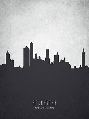 Rochester New York Painting - Rochester New York Cityscape 19 by Aged Pixel